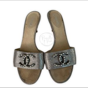 Chanel Silver Leather Pearl Shoes Slides Sandals